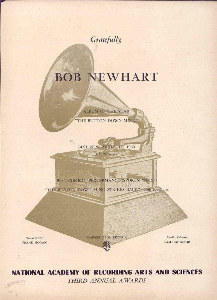 "1961 RARE BOB NEWHART GRAMMY AWARDS ""Button Down Mind"" 'THANK YOU' AD |  Grammy awards, Grammy, Mindfulness"