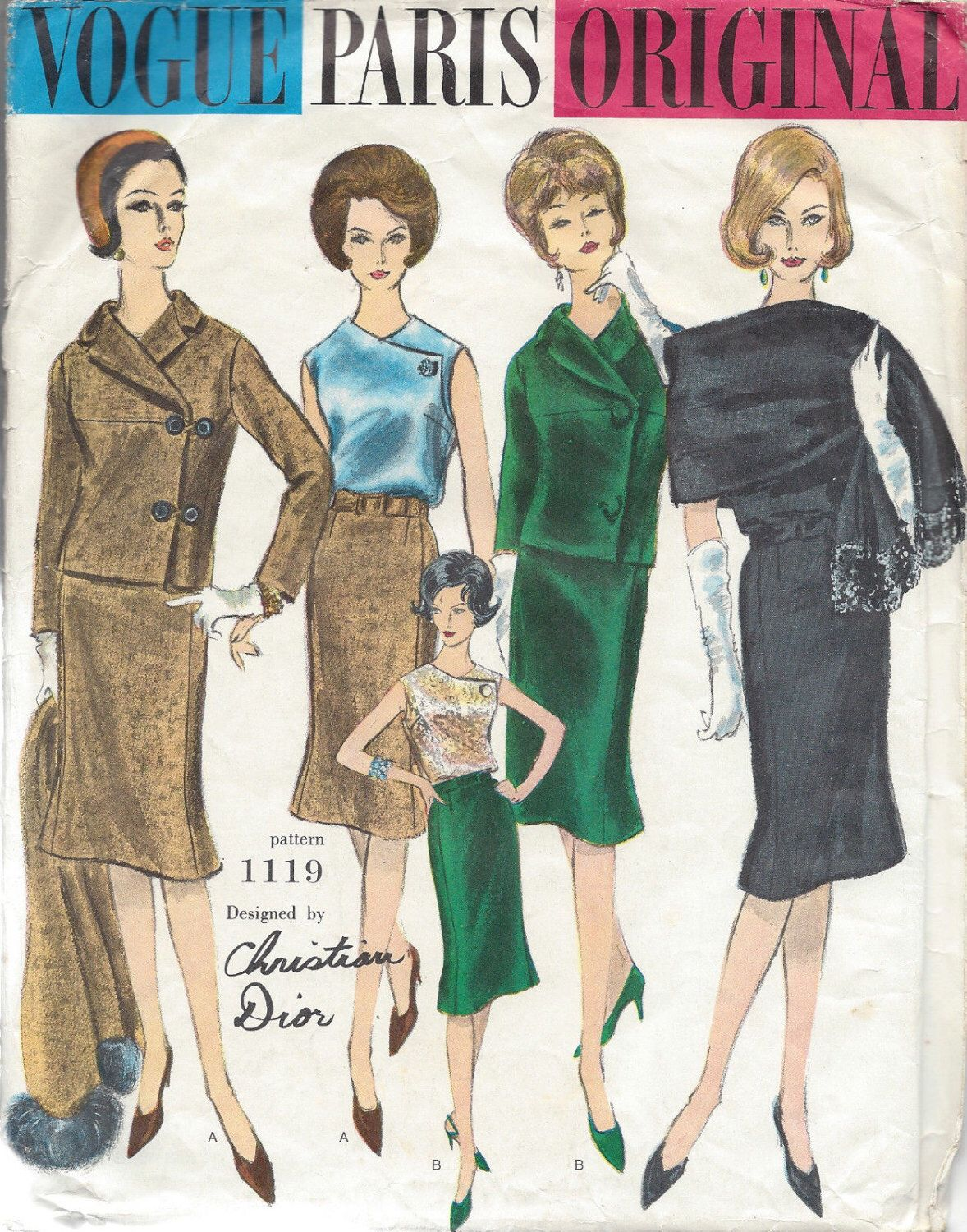 1960s Vintage VOGUE Sewing Pattern B34 SUIT JACKET Skirt Blouse ...