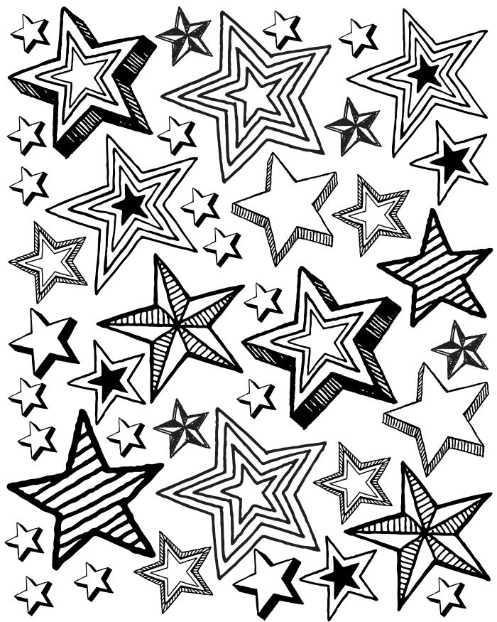 Patriotic Star Party Printable Coloring Page Color Me Happy Star