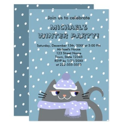 winter birthday party invitation cat and snow birthday cards