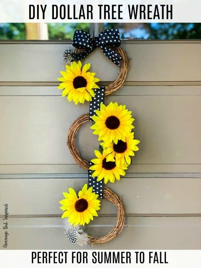 DIY Dollar Tree Sunflower Wreath {Perfect End-of-Summer Door Decor!} - Average But Inspired