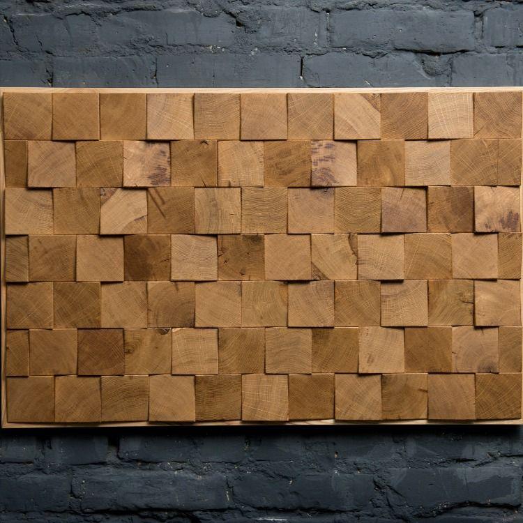 Oak Tiles Wood Wall Art Wood Wall Hanging Wall Panel Wood Etsy Wood Wall Hanging Wood Wood Panel Walls