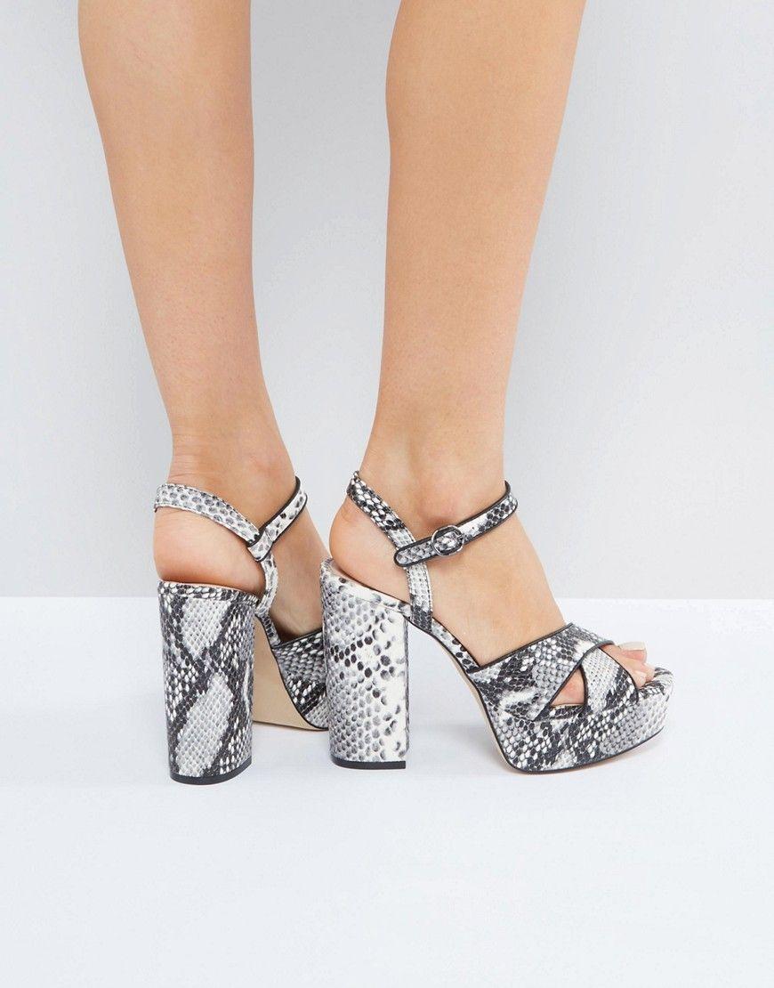 Zapatos de tacón de cuero sintético con estampado de serpiente 866Eikz