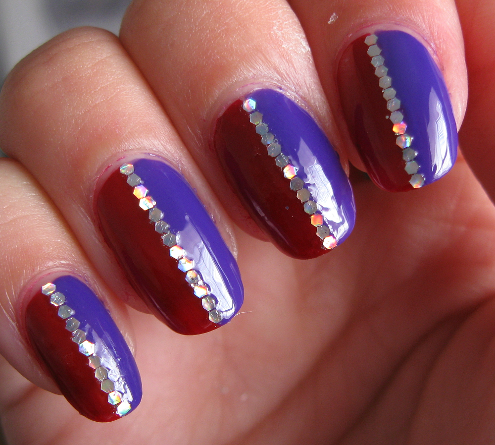 Red and purple stripe nails. | Red nails, Special nails, Nails