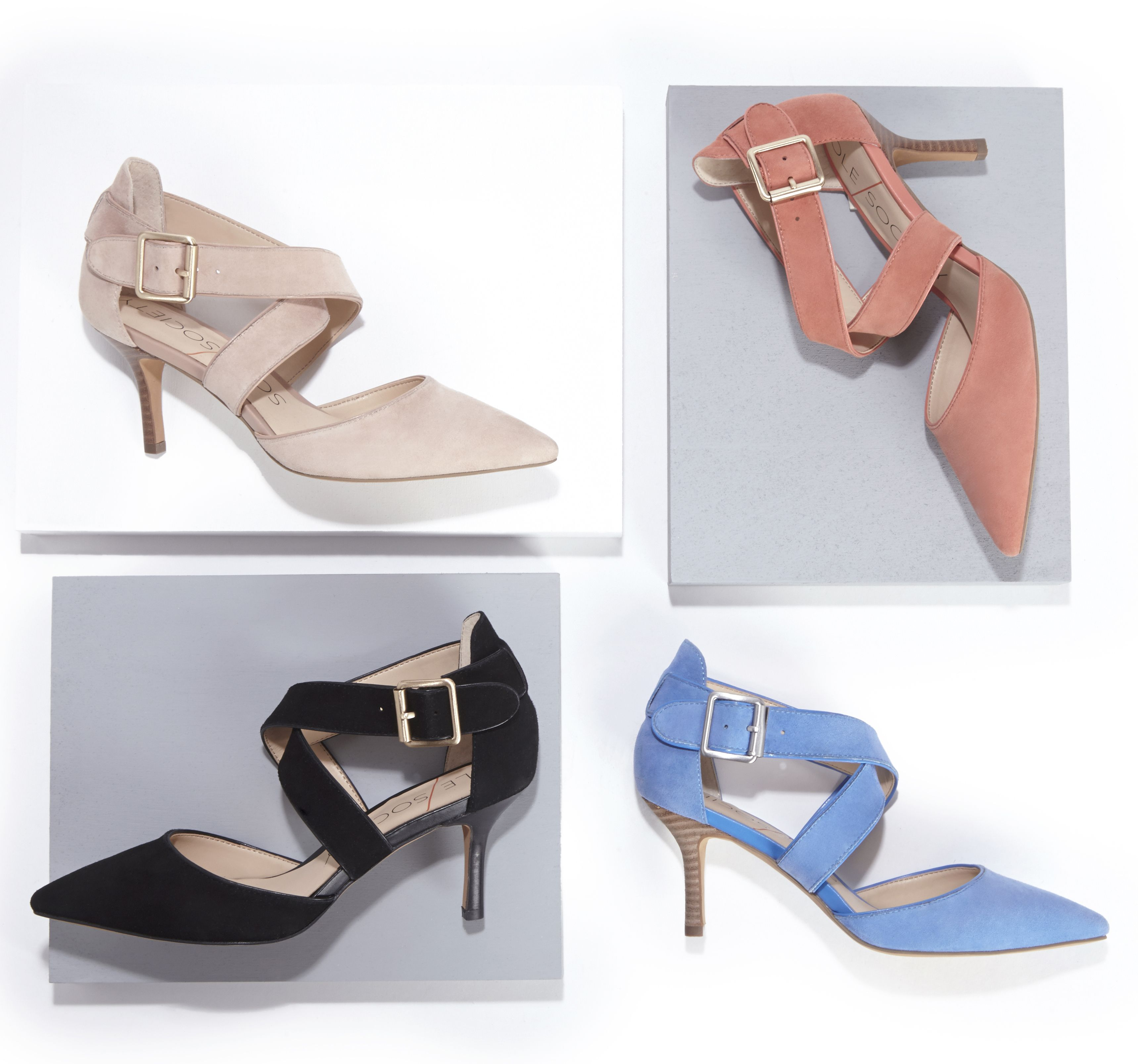 Tamra pointed-toe mid heel in soft suede, with sweeping cross straps | Sole Society