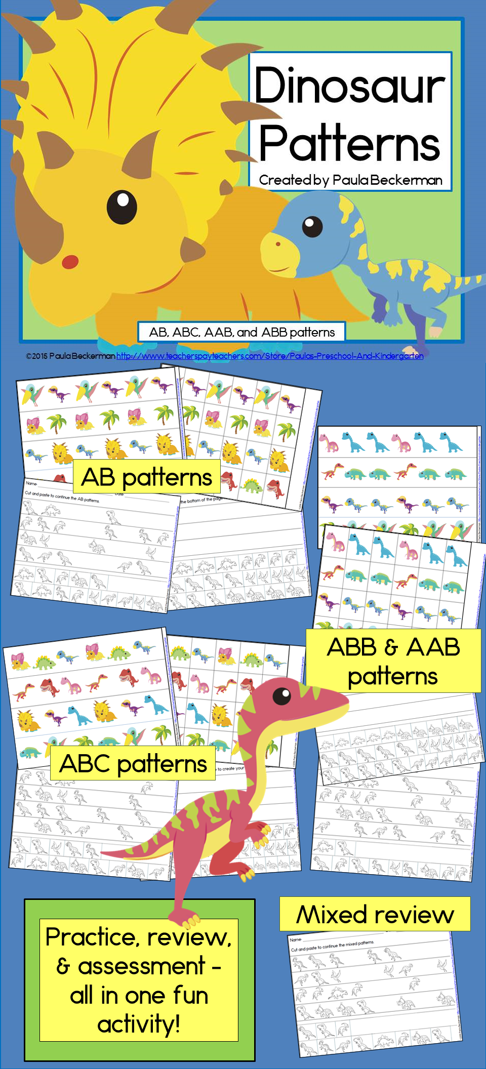 dinosaur patterns math center with ab abc aab abb patterns dinosaurs dinosaur pattern. Black Bedroom Furniture Sets. Home Design Ideas