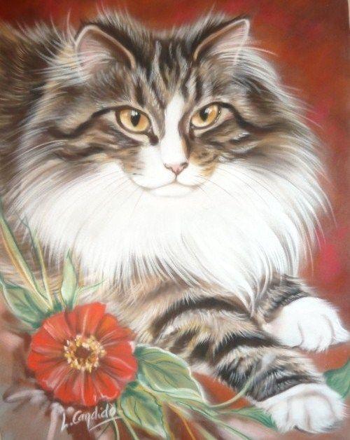 Peintre Animalier Chat #9: Je Vous Présente Une Artiste Peintre Animalier Qui Réalise De Superbes  Peintures Animalières, Notamment De Jolis Portraits De Chats Plus Vrais Que  Nature.