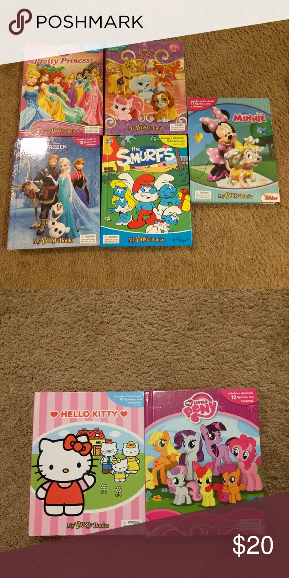 5 My Busy Books 2 Free Pretty Princess Palace Pets Frozen The Smurfs Minnie All Include A Story Book A Playmat My Busy Books Busy Book Princess Palace Pets
