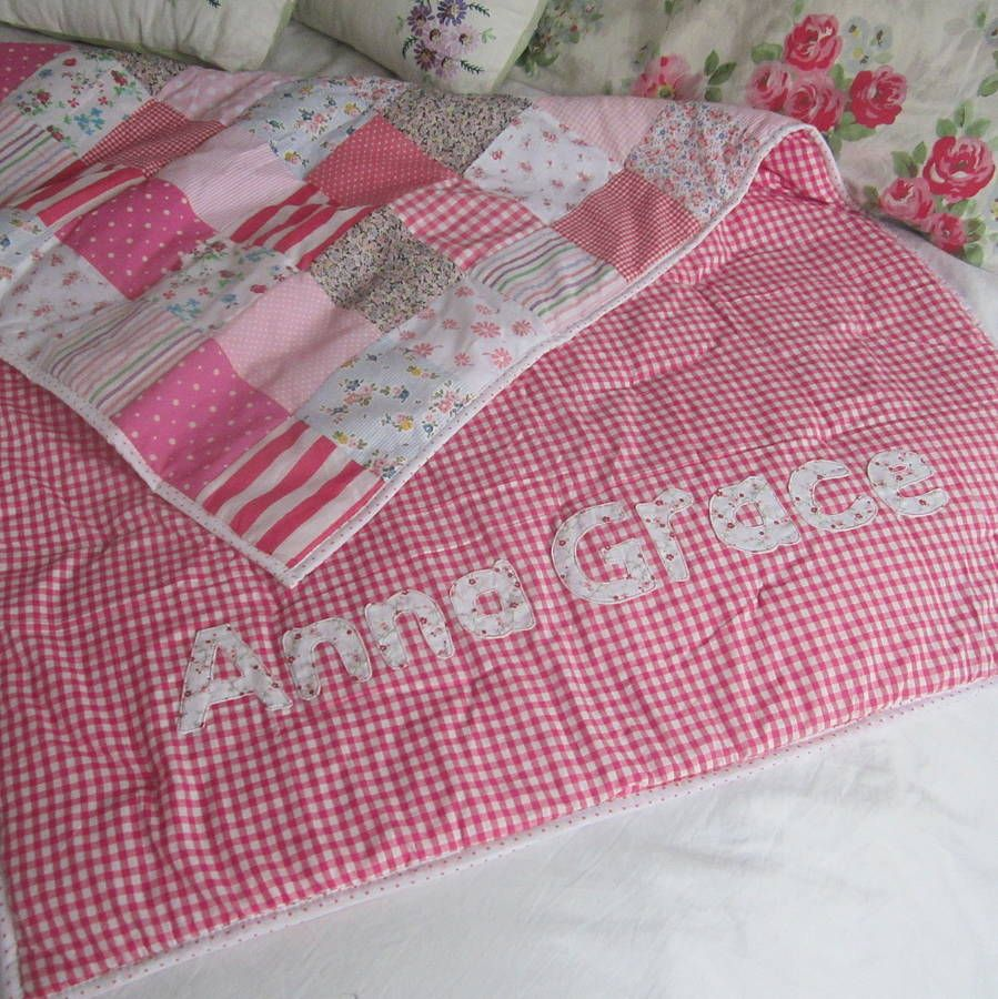Patchwork Quilt Personalised Girls And Boys | Patchwork, Cot quilt ... : cot patchwork quilt patterns - Adamdwight.com