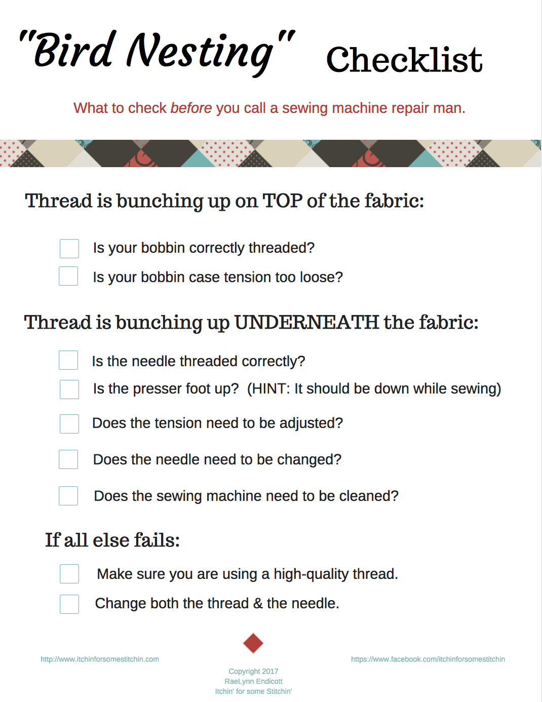 How To Fix Sewing Machine Thread Bunching Up Fabric Pinterest This Is The Should Be Threaded Birdnesting Checklist On Top Of Your Whenever Read It