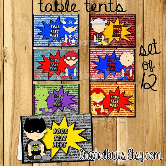 Baby Superhero Tent Cards Name Table Place
