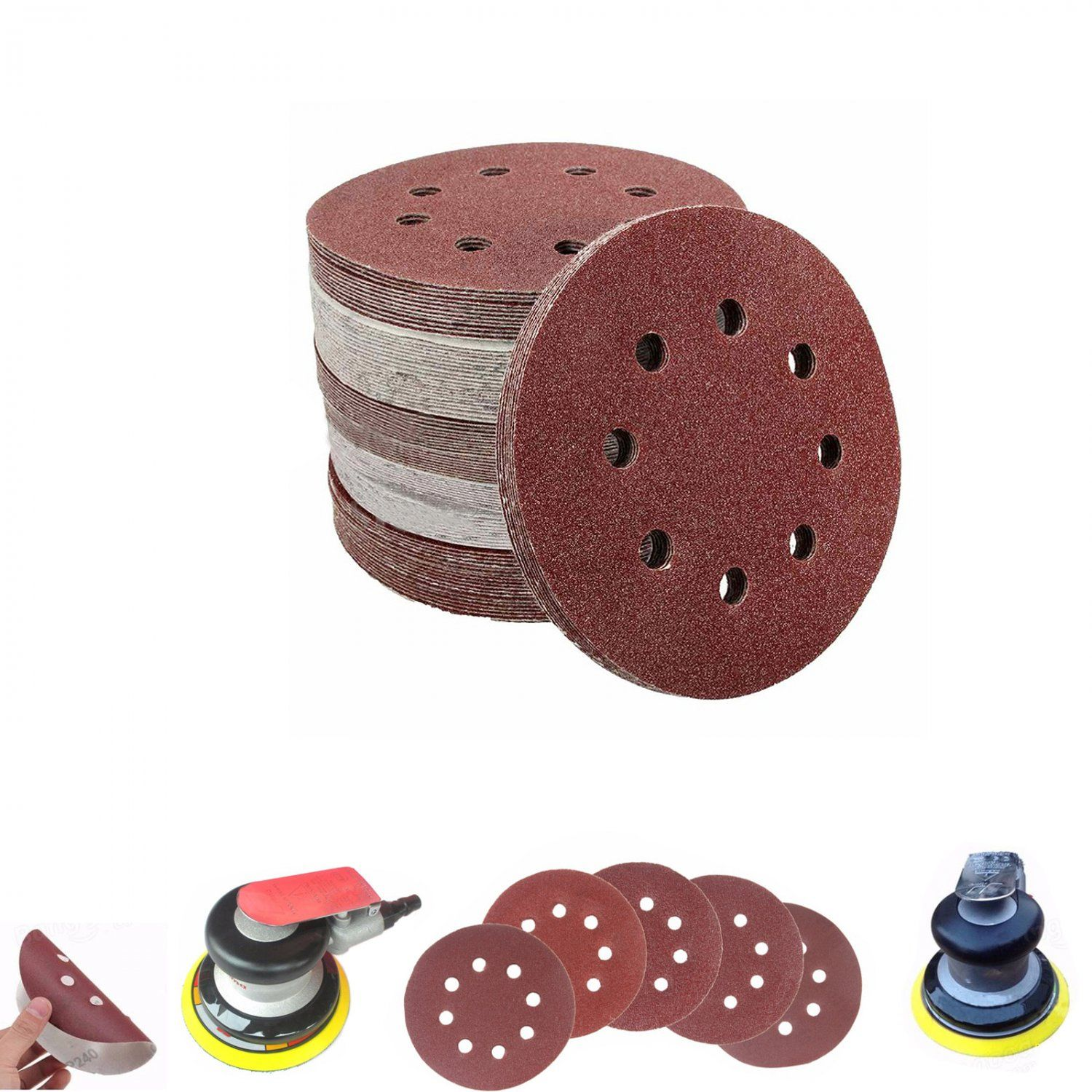Sanding Discs Abrasive Sand Paper Pads 50 Pack 8 Hole 125mm Dia Assorted Grit Paper Pads Sandpaper Sanding