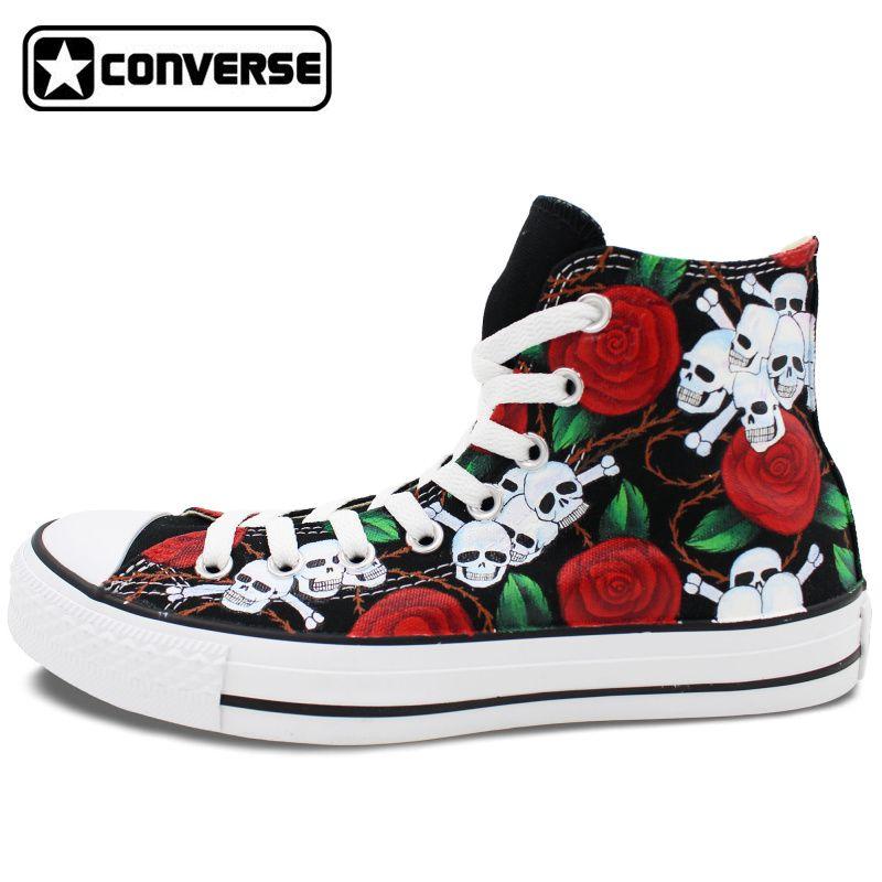 Men Women Original Converse Chuck Taylor Design Roses Flower Skull Hand  Painted Shoes Man Woman High Top Canvas Sneakers 77863ac9d