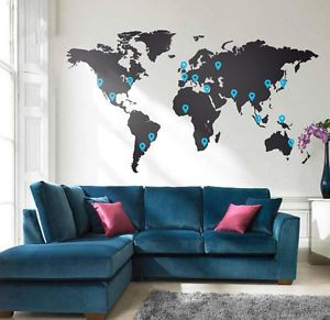 Wide-200cm-Removable-World-Map-And-Pin-Vinyl-Wall-Paper-Decal-Art-Sticker-Q655