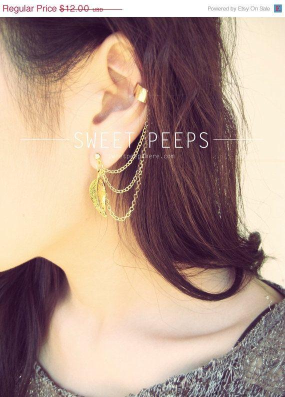 SPRING SALE Gold Ear Cuff Set Falling Leaves