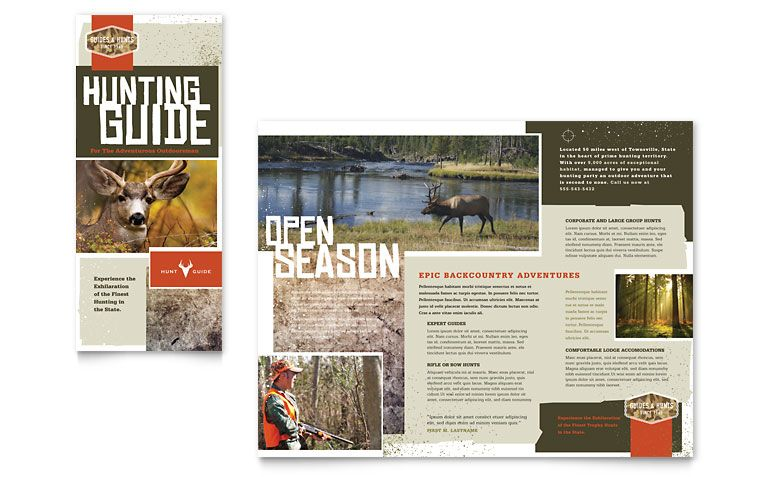 Hunting Guide Tri Fold Brochure Template Design  Hunting