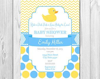 Duck Baby Shower Invitation Chevron Stripes By BeccaLeePaperie