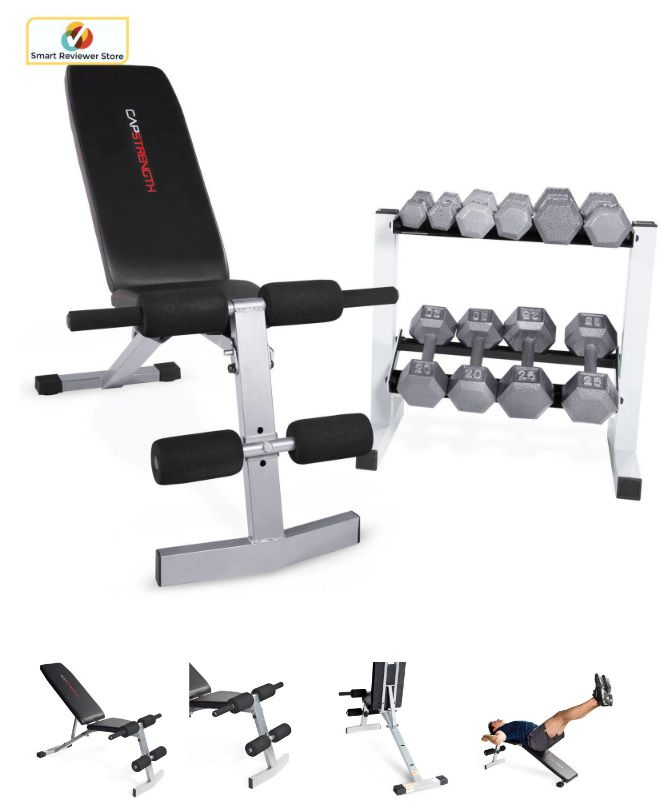 CAP Barbell Adjustable Bench + 150 Lb Hex Dumbbell Weights