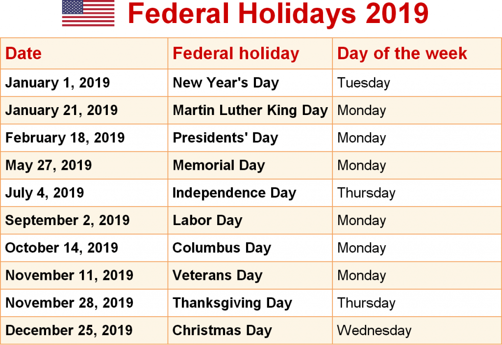 January 2019 Calendar US Federal Holidays Federal