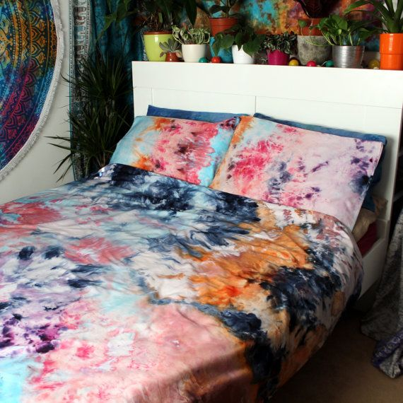 Handmade Watercolour Effect Tie Dye Duvet Cover And Pillow Cases