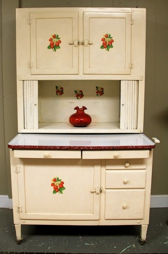 Best Adorable Antique Hoosier Cabinet With Strawberry Stencils 400 x 300