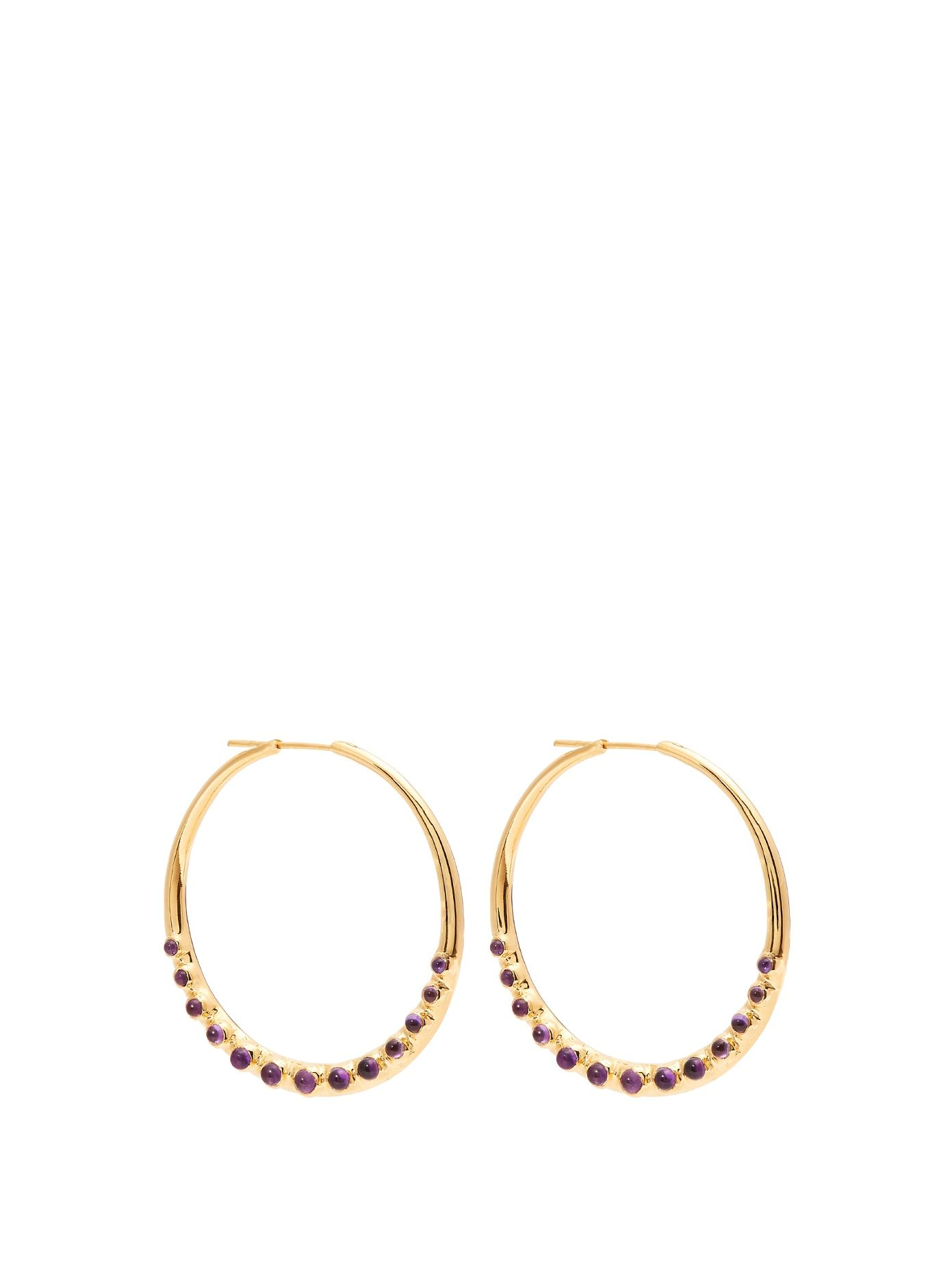 Cabochon Pearl Embellished Gold-Plated Sterling Silver Hoop Earrings Theodora Warre RTaEpj
