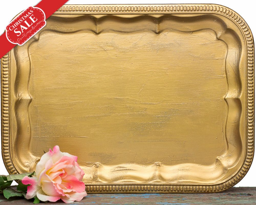 Christmas Gifts Vintage Gold Vanity Tray - Jewelry Display - Baroque Filigree Gold Tray - Hollywood Regency Jewelry Holder Tray - SET OF 3