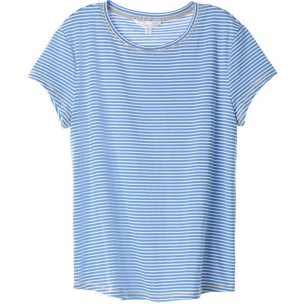 Victoria's Secret Crewneck Tee (82 BRL) ❤ liked on Polyvore featuring tops, t-shirts, blue striped t shirt, striped tees, crew neck t shirt, cotton crew neck t shirts and crew-neck tee