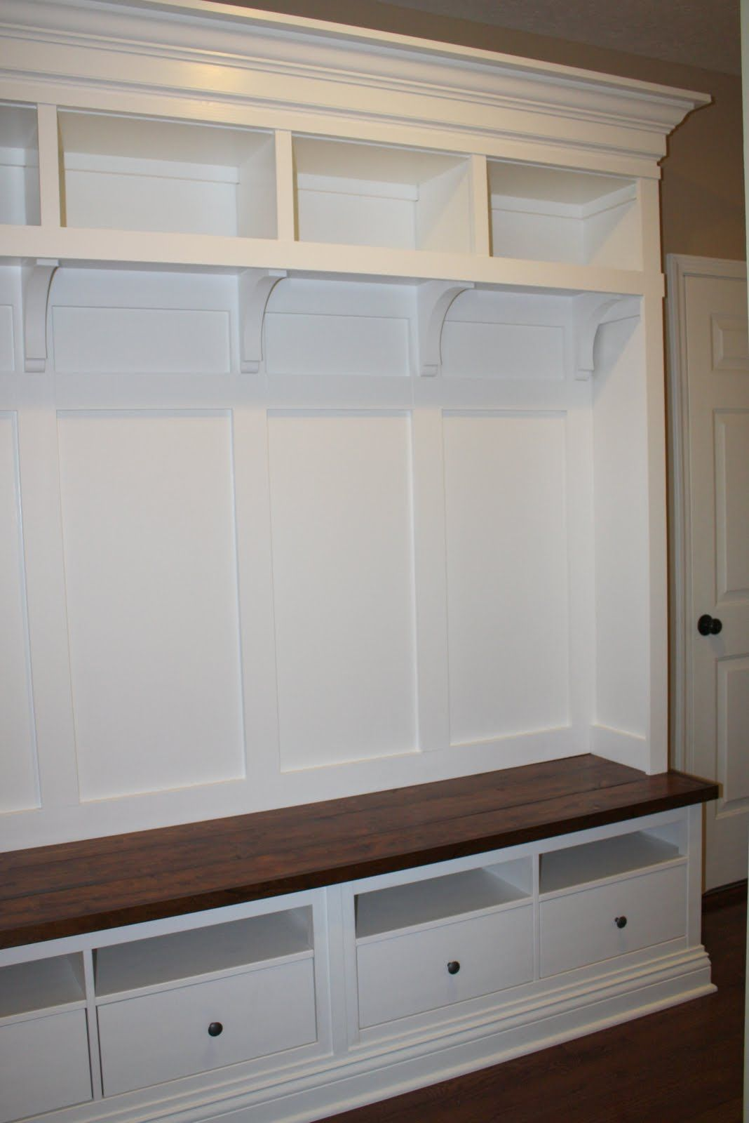 Diy Mudroom Storage Starting With Two Ikea Hemnes Tv Consoles Love It For The Entryway