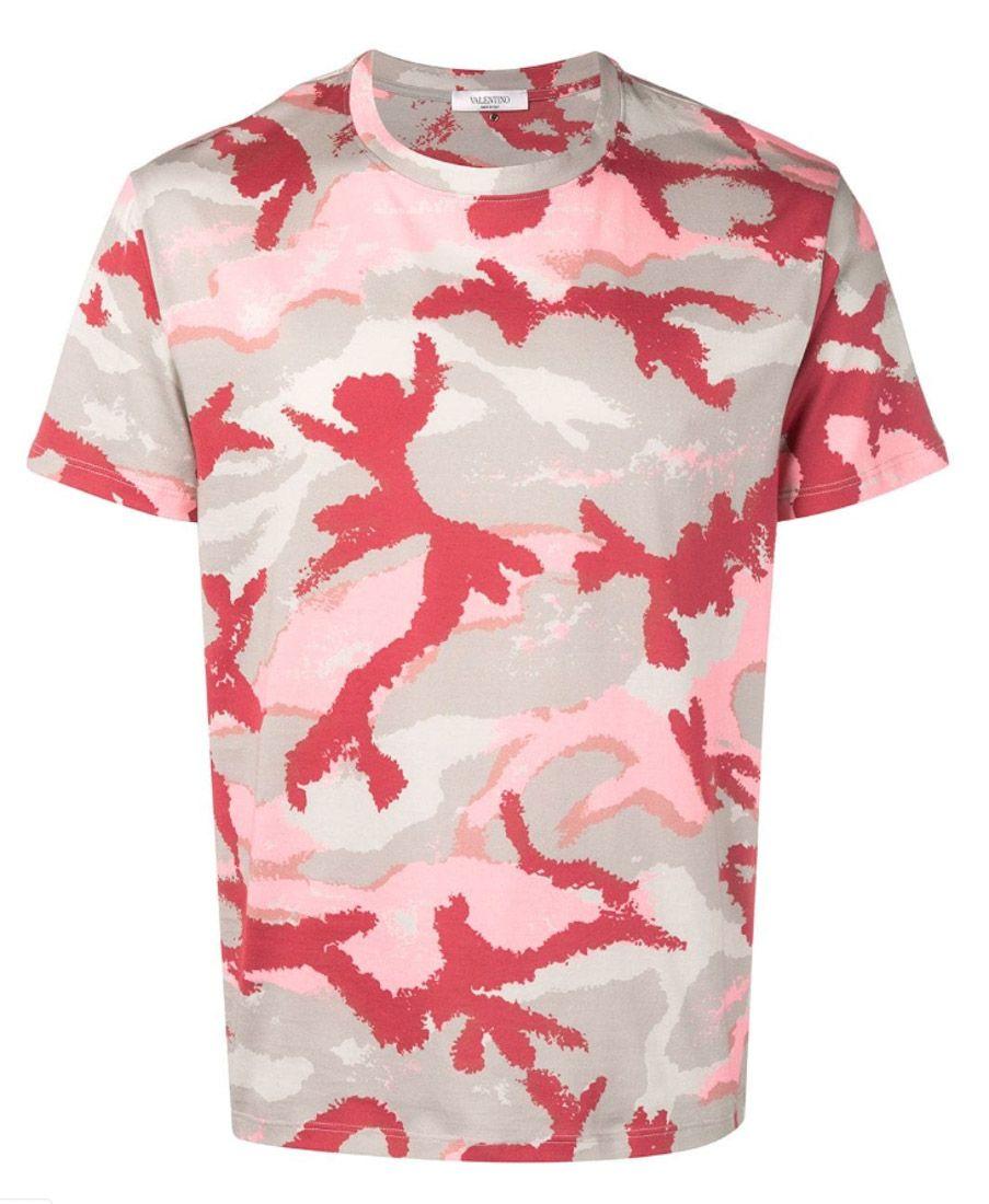 Pink Camouflage Print T-shirt | ModeSens