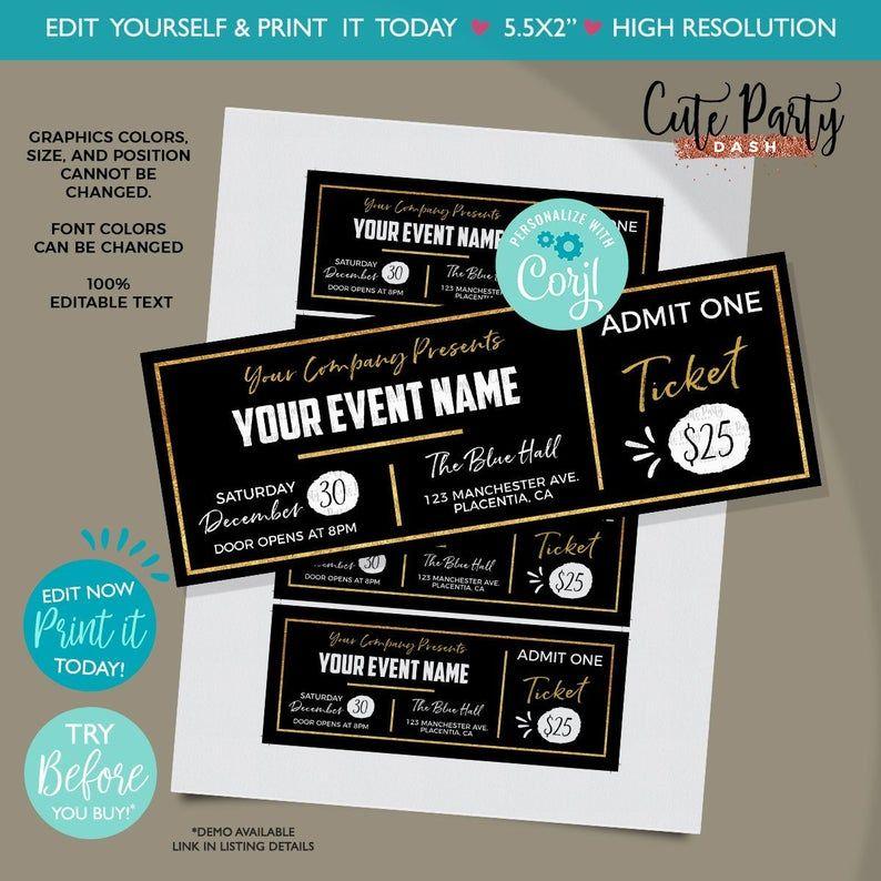 Instant Download Editable Event Golden Ticket Printable Etsy Ticket Template Printable Ticket Template Free Printables Ticket Template