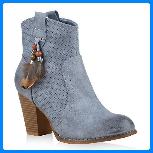 Damen Stiefeletten Cowboy Boots Stiefel Zierperlen Ethno