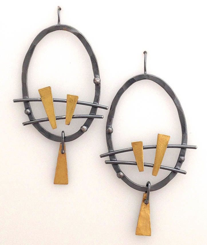 """Oval Earrings, Elaine Rader Light weight and full of """"movement! Dark oxydized sterling and 22K gold on French ear wires. (approx. as shown 2 3/4"""")."""" $165.00 © 2015 Elaine Rader Jewelry"""