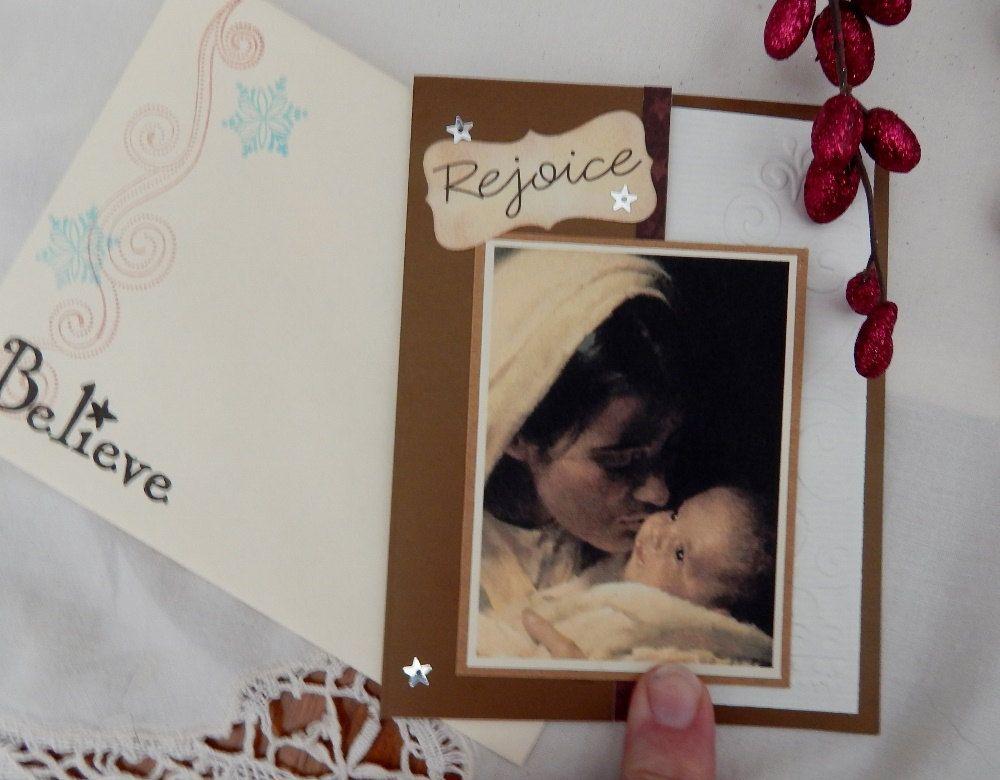 Handmade Christmas Card: complete card, handmade, balsampondsdesign, Christian, Mary & Child, brown, handmade envelope, envelope seal by balsampondsdesign on Etsy