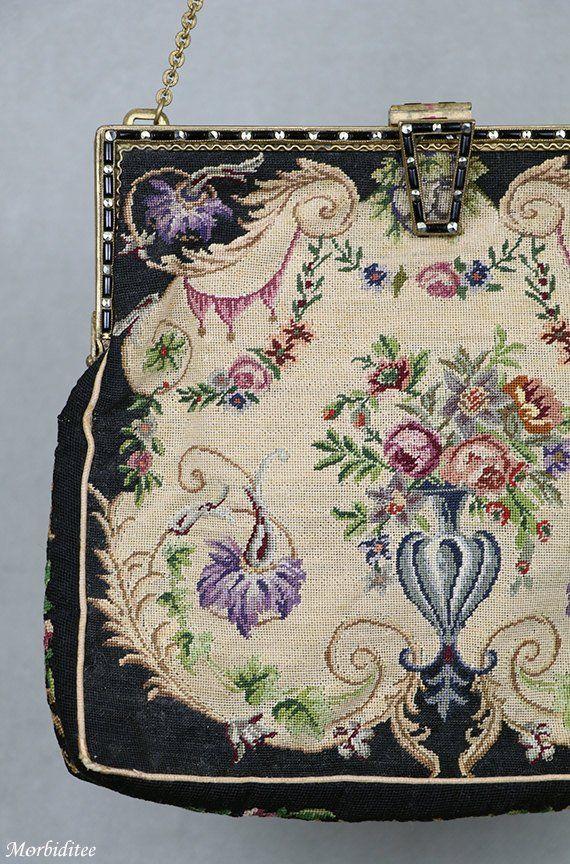 8a04493638b71 Antique petit point handbag purse