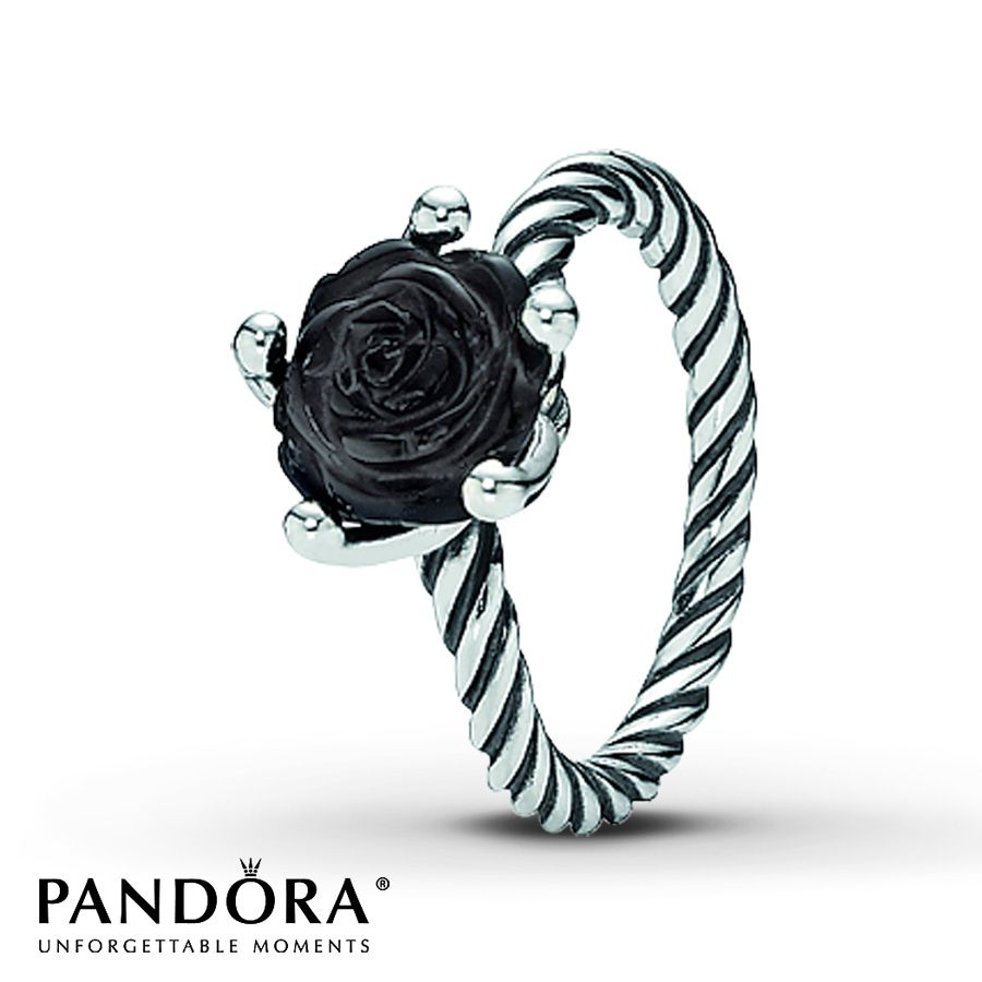 Onyx Rose Sterling Silver Ring