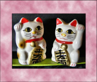 "MANEKI NEKO PAIR 2"" LUCK mini statues Japanese good fortune cats. Listed on eBay."