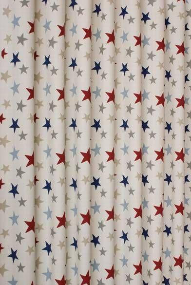 Funky Star Blue Curtain Fabric