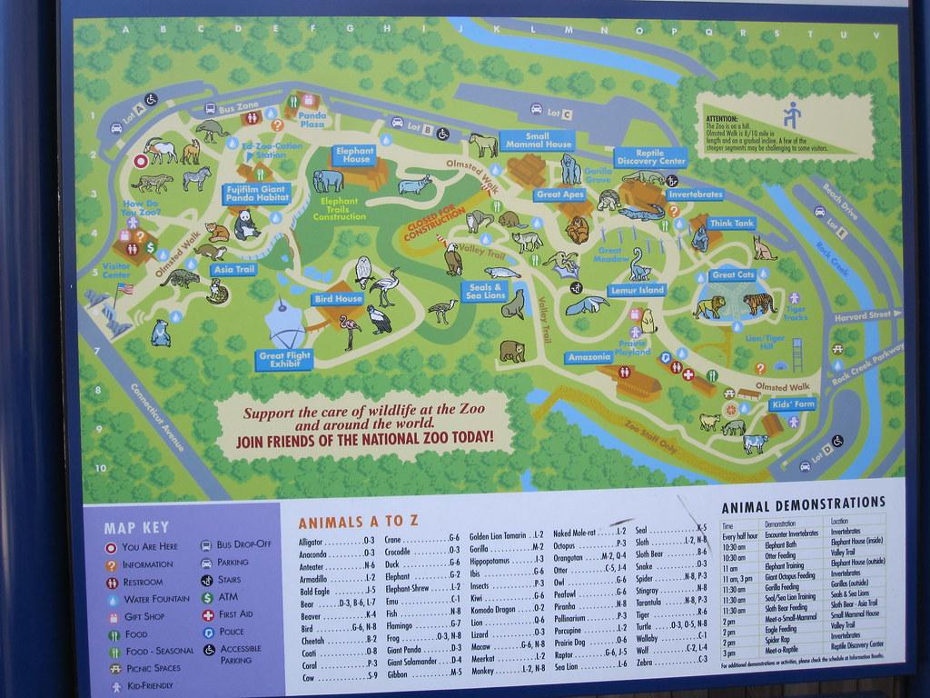 National Zoo In Washington Dc Zoo Map Washington Dc Zoo Dc Zoo