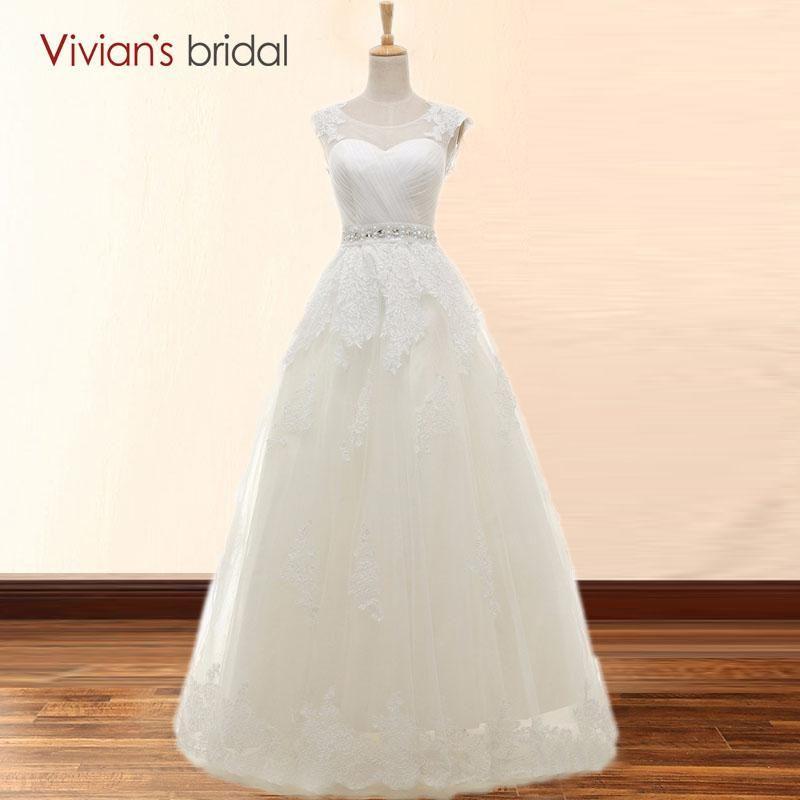 Vivian\'s Bridal Vestido de noiva Vintage Cap Sleeve Wedding Dresses ...