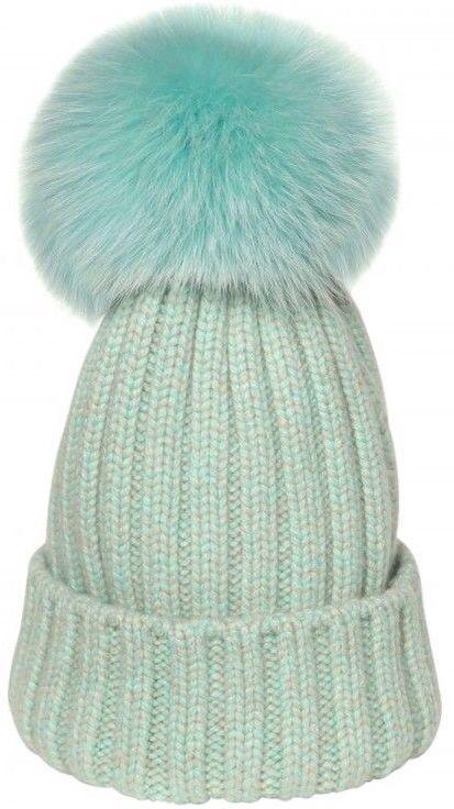d47ec00c613 Bun Mint Ribbed Wool Fox Fur Beanie Hat