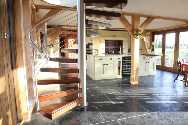 Best Kitchen Designed To Complement Spiral Staircase And 640 x 480