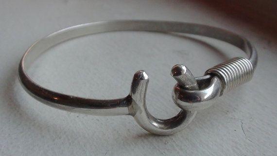 Vtg Horseshoe Lucky Symbol Sterling Silver Cuff Latch Hook Bracelet