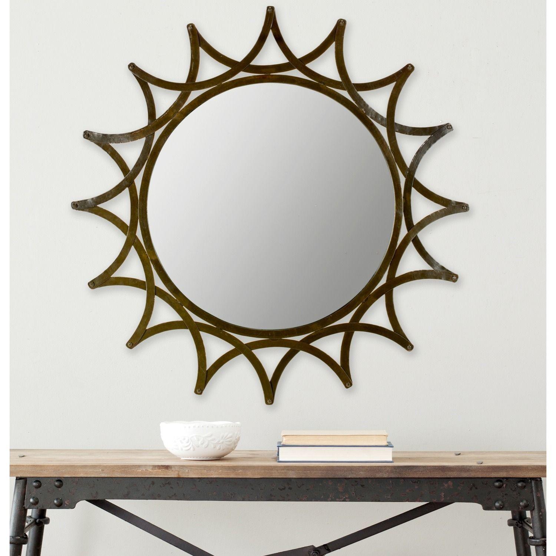 finish mirror decorative circles round satin with silver decor