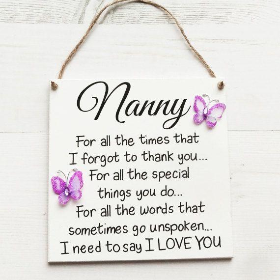 Nanny Gift For Handmade Plaque