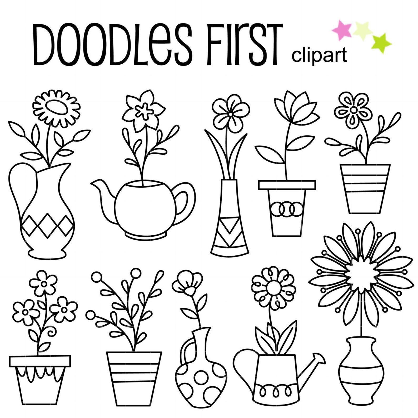 Doodle Potted Flowers Digital Clip Art For Scrapbooking Card