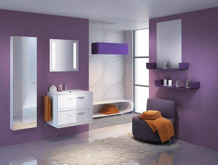 Badezimmer Deckenfarbe ~ Die farbe lila badezimmer wände orange tücher interieur