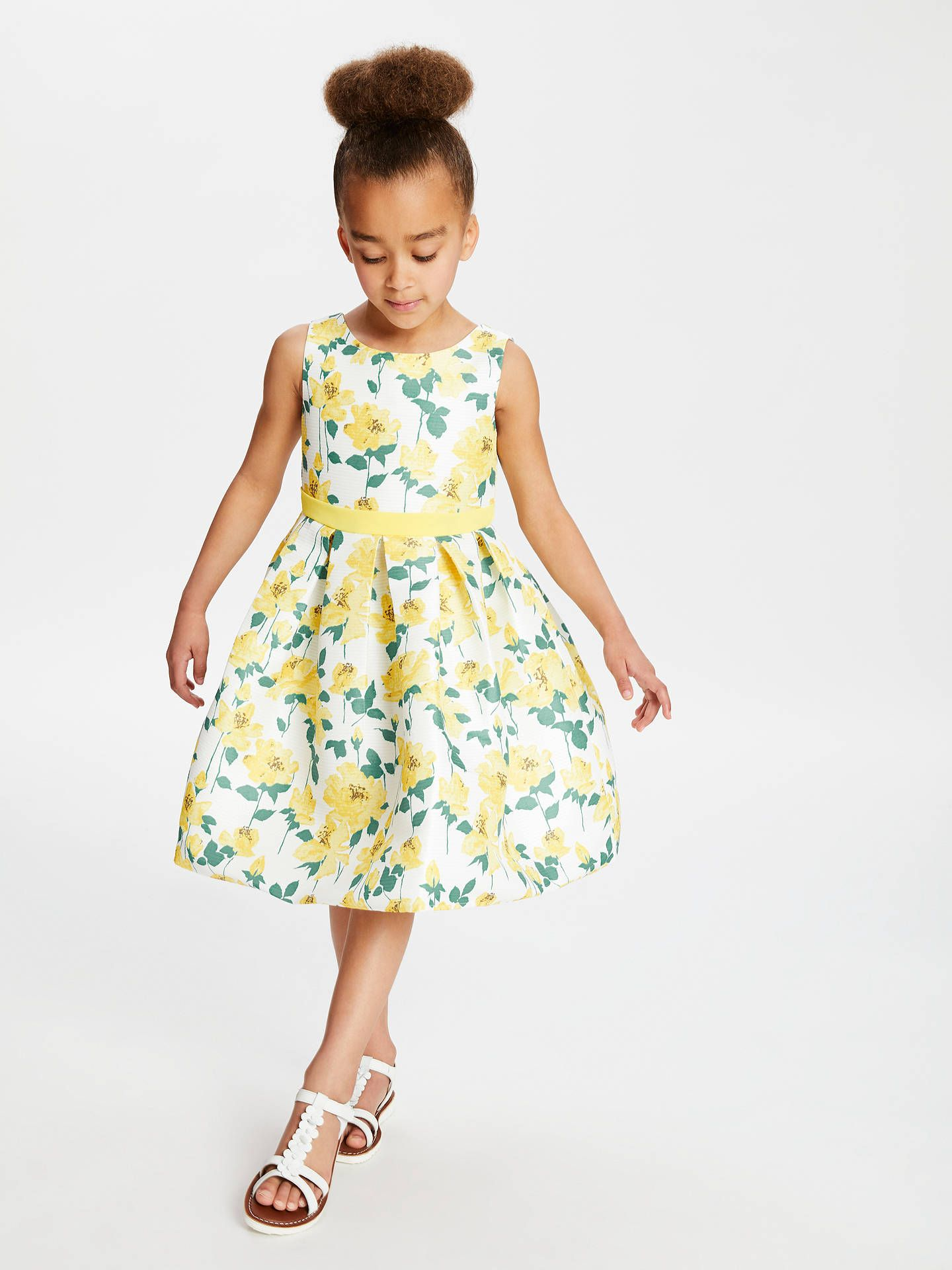 46b1d3b29 John Lewis & Partners Heirloom Collection Girls' Floral Print Dress, Yellow  at John Lewis
