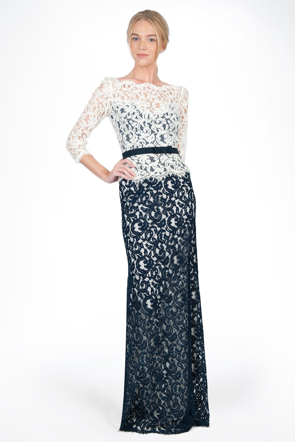 79951ee6dd Lace Boatneck   Sleeve Gown with Grosgrain Ribbon Belt in Navy   Ivory