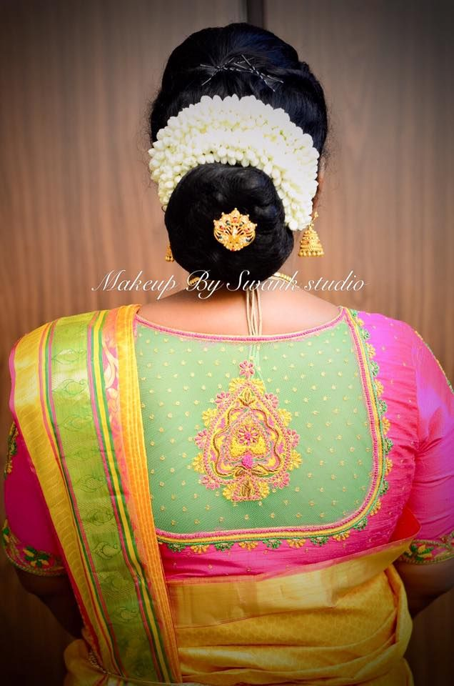 Wedding Hairstyle Hair Bun Silk Saree Saree Blouse Design Blouse Designs Indian Embroidered Blouse Designs Boutique Dress Designs